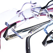 A photo of rimless spectacles